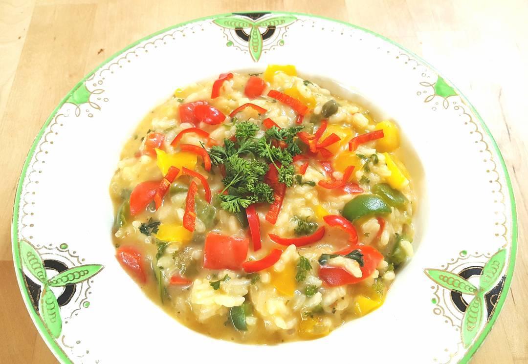 An amazing luscious gooey cheesy Mediterranean Vegetable Risotto that takeshellip